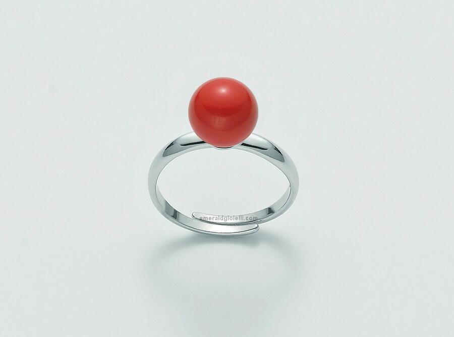Lid3310 Anello con sfera color Corallo Rosso Miluna