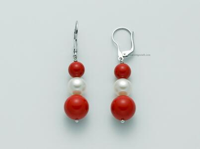 per2465 Orecchini Pendenti con perle e sfere color Corallo Rosso  Miluna