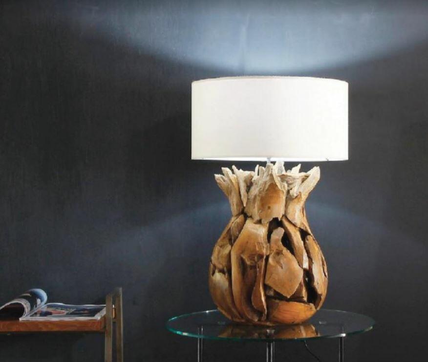 Lampada da Tavolo PINE di Nature Design con Base in Legno Massello - Offerta di Mondo Luce 24
