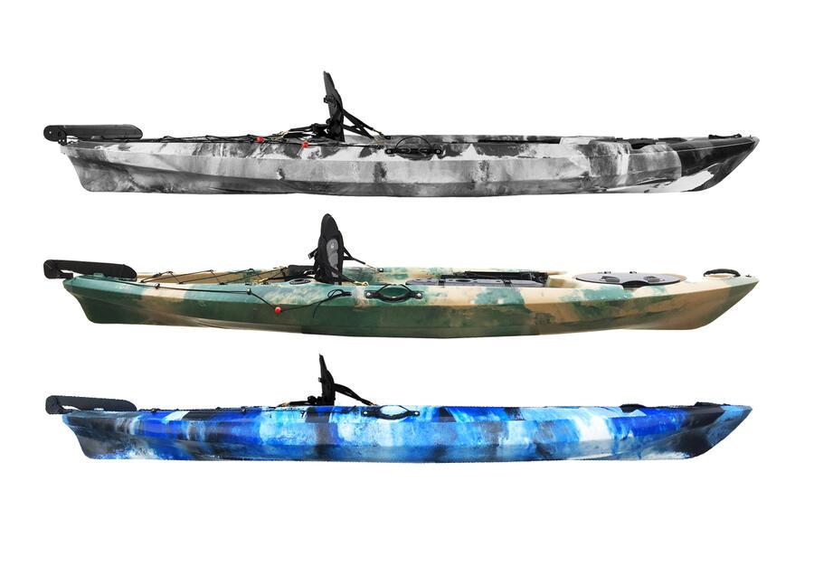 PRESTIGE 363 Fishing Bull Kayak con 2 portacanne + 1 gavone + timone + pagaia + seggiolino