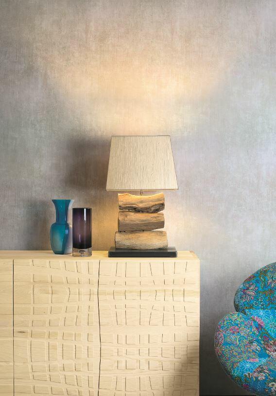 Lampada da Tavolo DACIA di Nature Design con Tronchi di Legno su Base in Metallo - Offerta di Mondo Luce 24