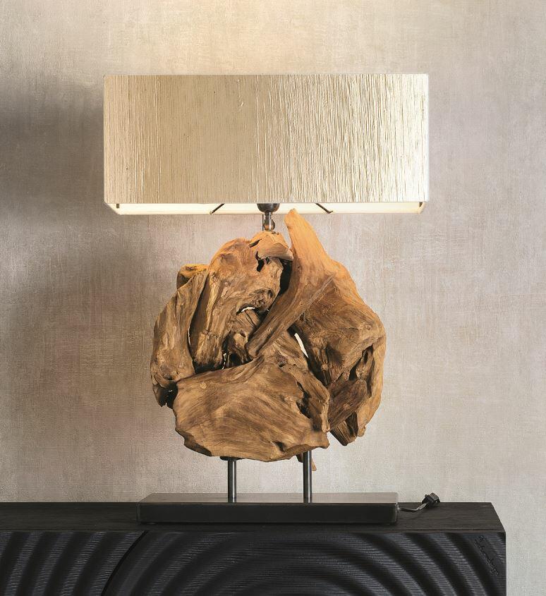 Lampada da Tavolo ASTERIX di Nature Design in Radici di Legno su Base di Metallo - Offerta di Mondo Luce 24