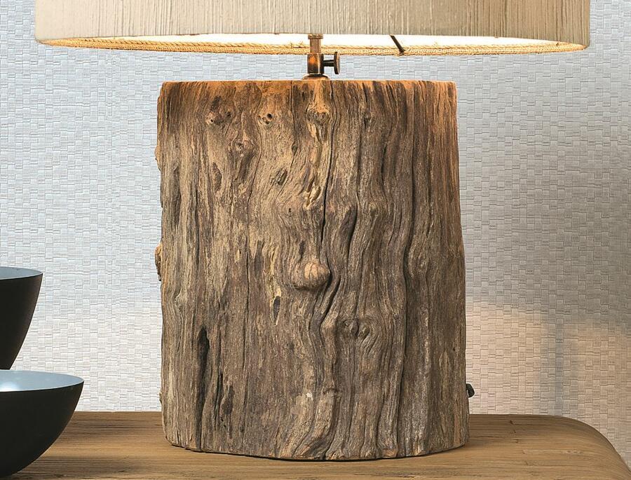 Lampada da Tavolo LOG di Nature Design Realizzata con un Tronco Spazzolato - Offerta di Mondo Luce 24