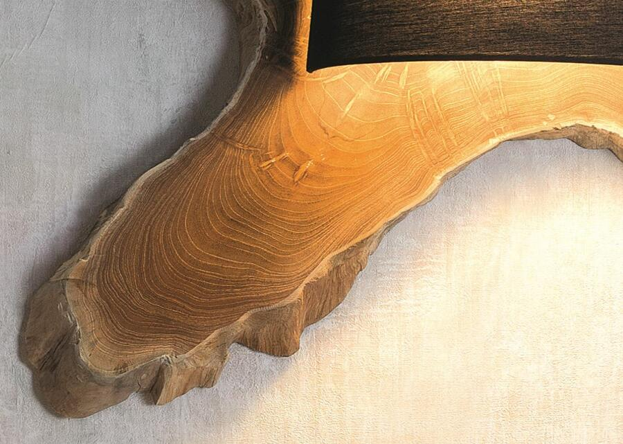 Lampada da Parete TREE di Nature Design Realizzata con la Sezione di un Albero, Varie Finiture - Offerta di Mondo Luce 24