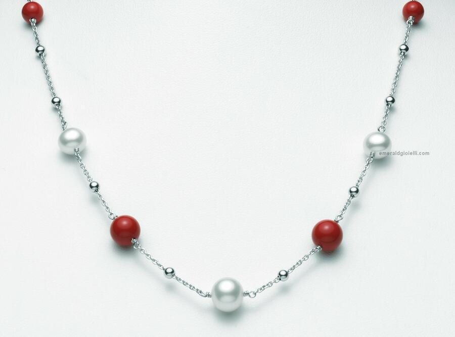pcl5828 Collana Miluna con sfere color Corallo Rosso e Perle -