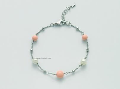 pbr3018 Bracciale con sfere color Corallo Rosa e perle Miluna