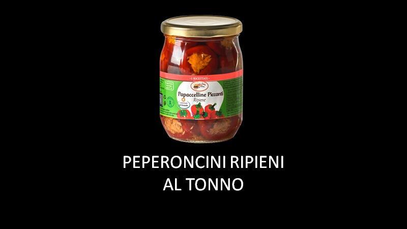 PEPERONCINI RIPIENI CON TONNO, OLIVE E CAPPERI 580ML.