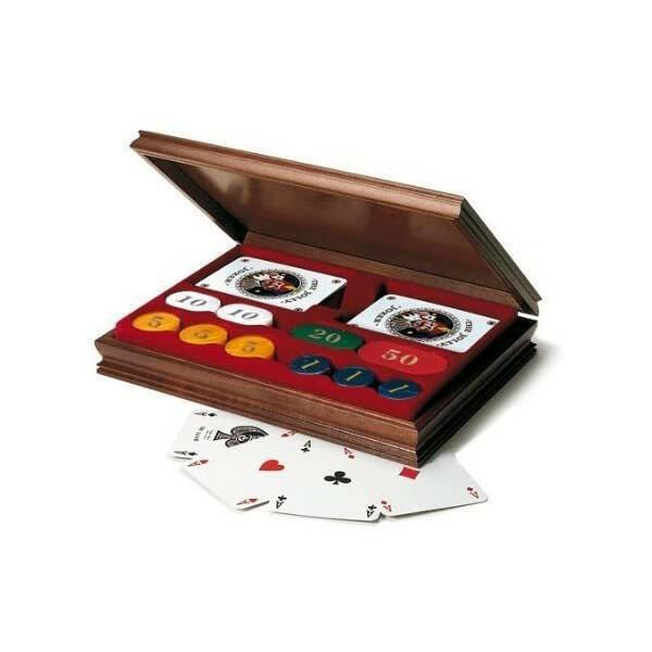 Carte da Pocker e Fiches in una raffinata scatola di legno - Didatto 815
