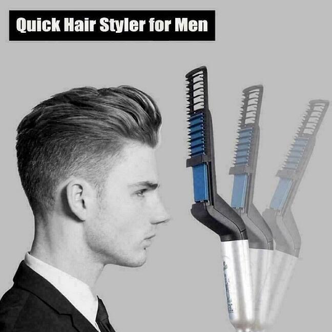 Spazzola elettrica pettine lisciante per barba e capelli