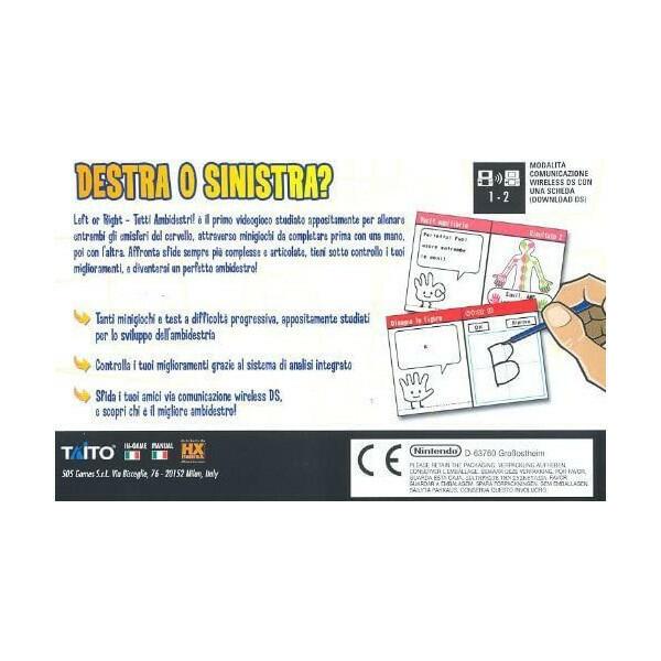 Left Or Right - Tutti Ambidestri NUOVO - Nintendo DS - Ver. ITA
