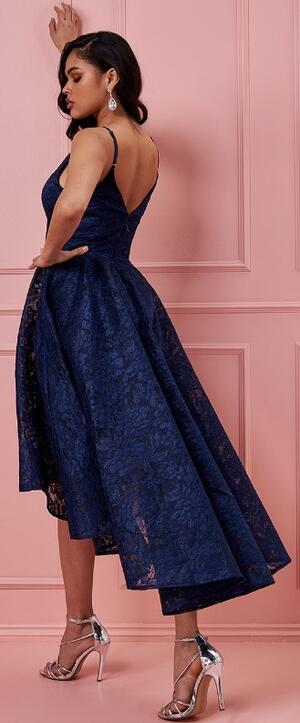 0722 SHORT AND LONG BLU DRESS IN LINED LACE