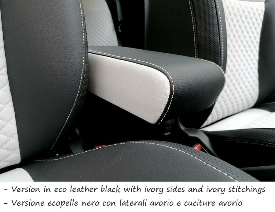 Mittelarmlehne mod. PREMIUM für Fiat 500 (2015>) mit Staufach XXL in der Länge verstellbare