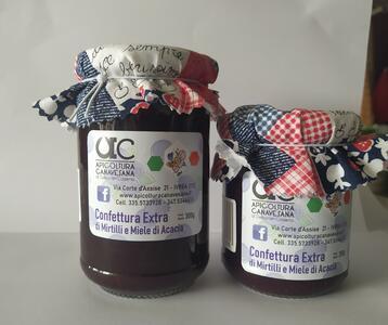 Confettura Extra di Mirtilli e Miele di Acacia Disponibile nei formati 200-300 gr