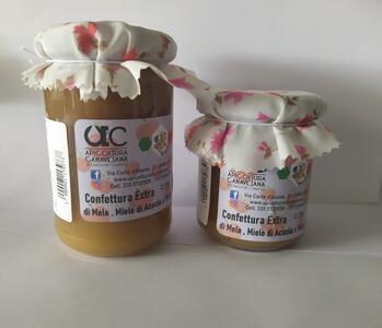 Confettura Extra di Mele, Miele di Acacia e Viola Disponibile nei formati 220-320 gr
