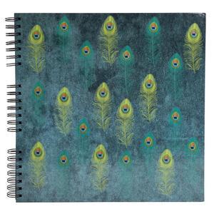 Album foto spiralato per 360 foto - 60 pagine nere - PAVONE - 32x32cm - Blu verde