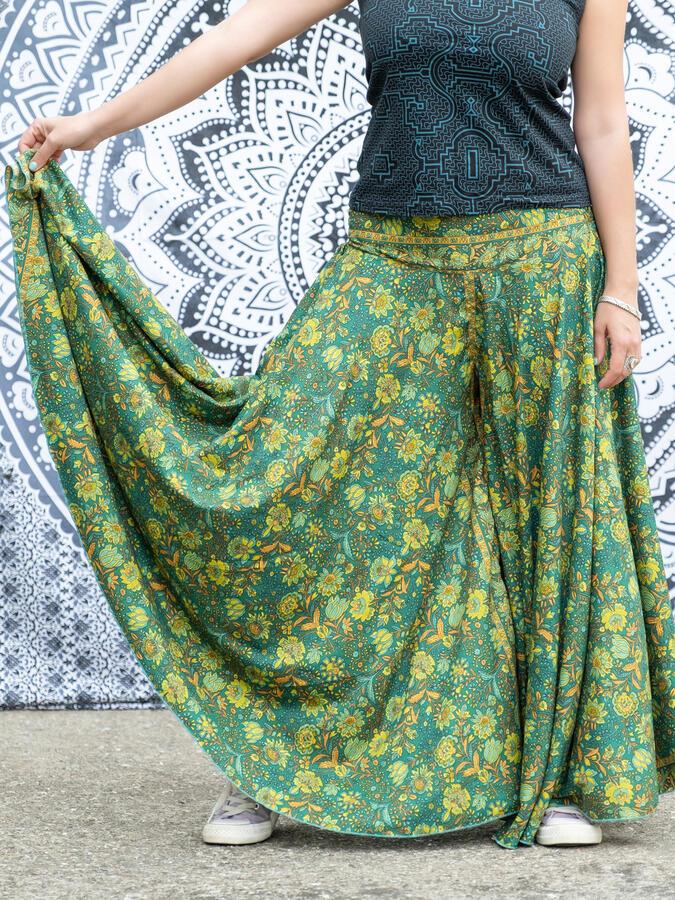 Pantalone lungo donna Uttara ampio in seta - verde arancio