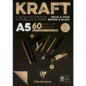 Blocco carta KRAFT BICOLORE (avana/nero) A5 da 60 fogli 90 gr