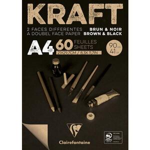 Blocco carta KRAFT BICOLORE (avana/nero) A4 da 60 fogli 90 gr