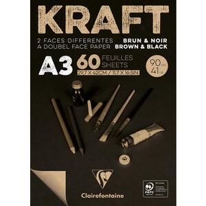 Blocco carta KRAFT BICOLORE (avana/nero) A3 da 60 fogli 90 gr