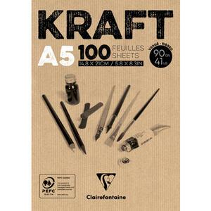 Album carta KRAFT collato A5 da 100 fogli 90 gr