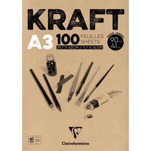 Album carta KRAFT collato A3 da 100 fogli 90 gr