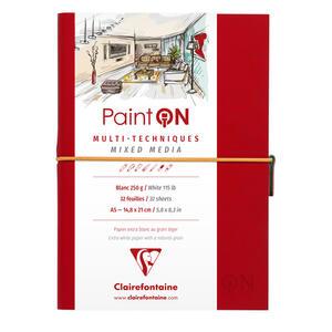 Quaderno  PAINT ON cucito, con elastico A5 32 fogli bianco liscio, copertina rossa