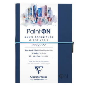 Quaderno  PAINT ON cucito, con elastico A5 32 fogli bianco fine/ruvida naturale, copertina blu