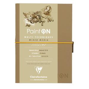 Quaderno  PAINT ON cucito, con elastico A5 32 fogli  naturale, copertina avana