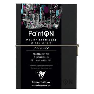 Quaderno  PAINT ON cucito, con elastico A5 32 fogli  nero, copertina nera