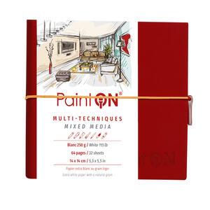 Quaderno  PAINT ON cucito, con elastico 14X14 32 fogli bianco liscio, copertina rossa