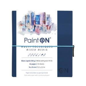Quaderno  PAINT ON cucito, con elastico 14X14 32 fogli bianco grana fine/ruvida, copertina blu