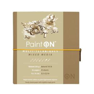 Quaderno  PAINT ON cucito, con elastico 14X14 32 fogli  naturale, copertina avana