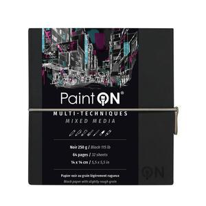Taccuino cucito Paint'On 64 fogli 14x14 cm carta nera 250 gr, chiusura con elastico, copertina morbida nera