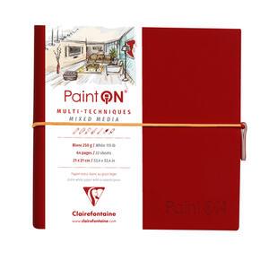 Taccuino cucito Paint'On 64 fogli 19x19 cm carta bianca 250g, chiusura con elastico, copertina morbida rossa