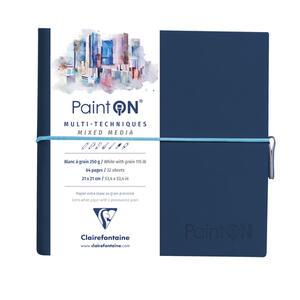 Taccuino cucito Paint'On 64 fogli 19x19 cm carta bianca a grana 250 gr, chiusura con elastico, copertina morbida blu