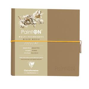 Taccuino cucito Paint'On 64 fogli 19x19 cm carta color naturale 250 gr, chiusura con elastico, copertina morbida Kraft