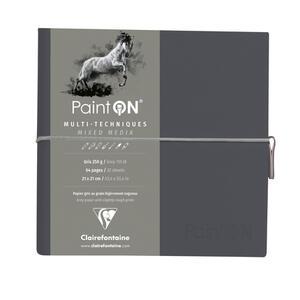 Taccuino cucito Paint'On 64 fogli 19x19 cm carta grigia 250 gr, chiusura con elastico, copertina morbida grigia