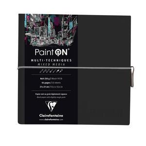 Taccuino cucito Paint'On 64 fogli 19x19 cm carta nera 250 gr, chiusura con elastico, copertina morbida nera