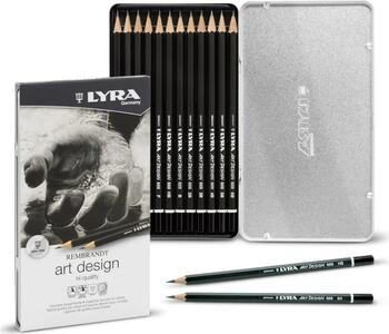 Set matite Lyra Art Design Scatola in Metallo - 12 pz. Gradazioni Assortite