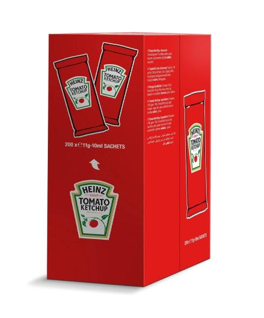 Heinz Tomato Ketchup Sachet - Confezione da 200 Pezzi