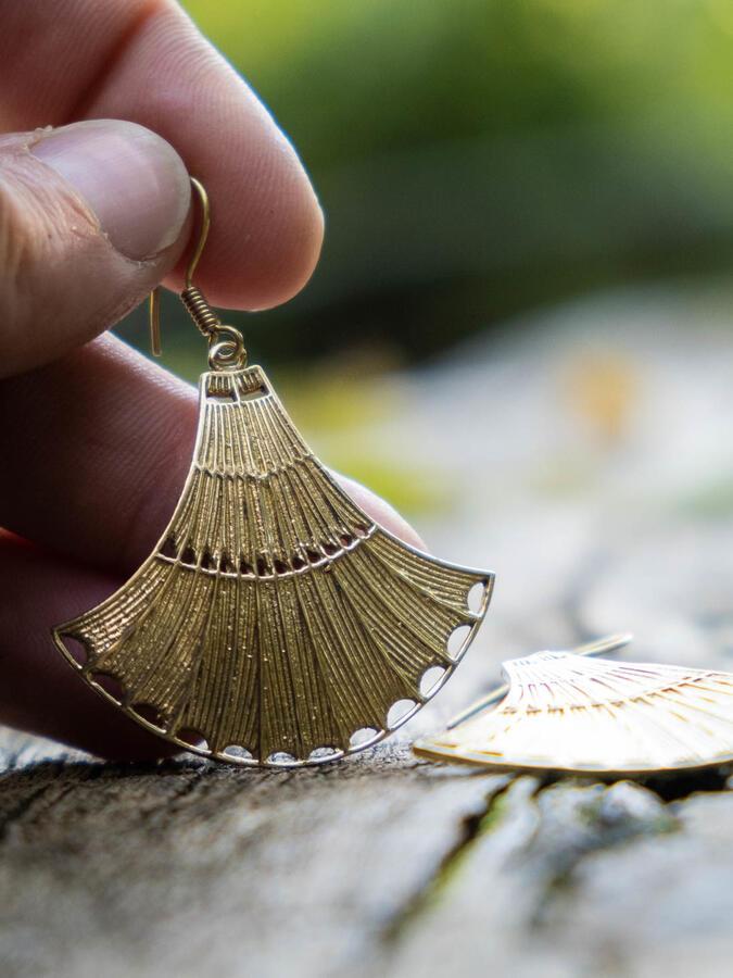 Orecchini pendenti ottone a campana