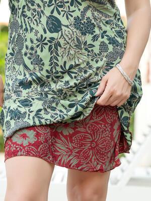 Vestito corto Niti double-face - verde oro + rosso viola verde