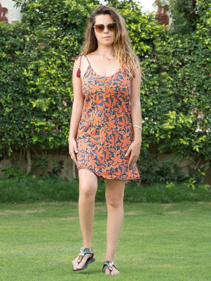 Vestito corto Niti double-face - fiorato arancione + verde viola rosso