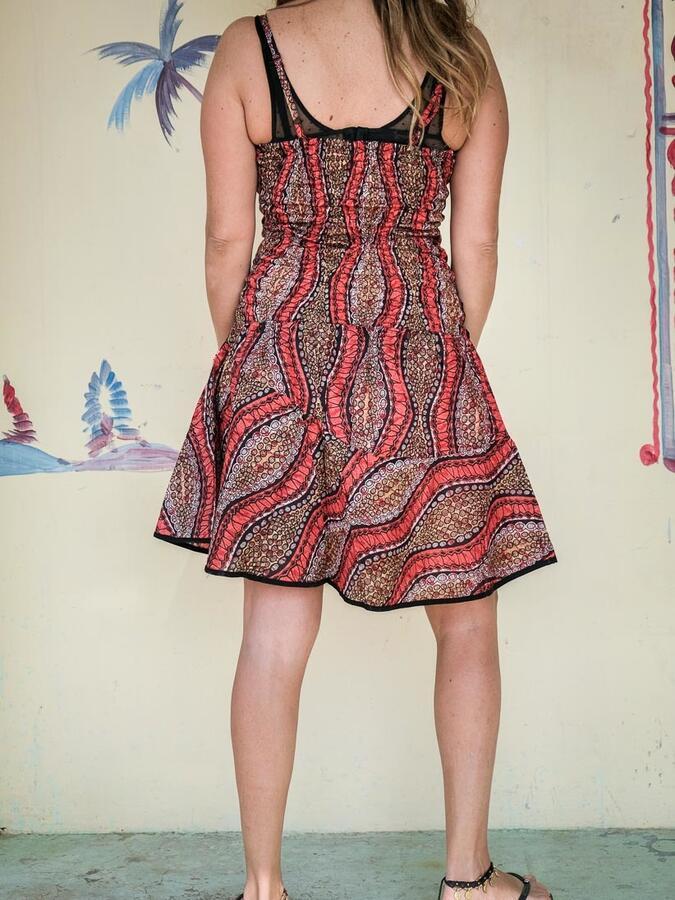 Vestito donna corto Sarika - cerchi rosso