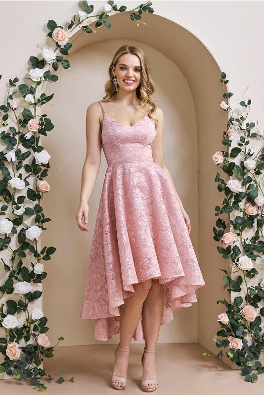 0725 SHORT AND LONG ROSE DRESS IN LINED LACE