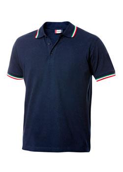 Polo blu tricolore manica corta