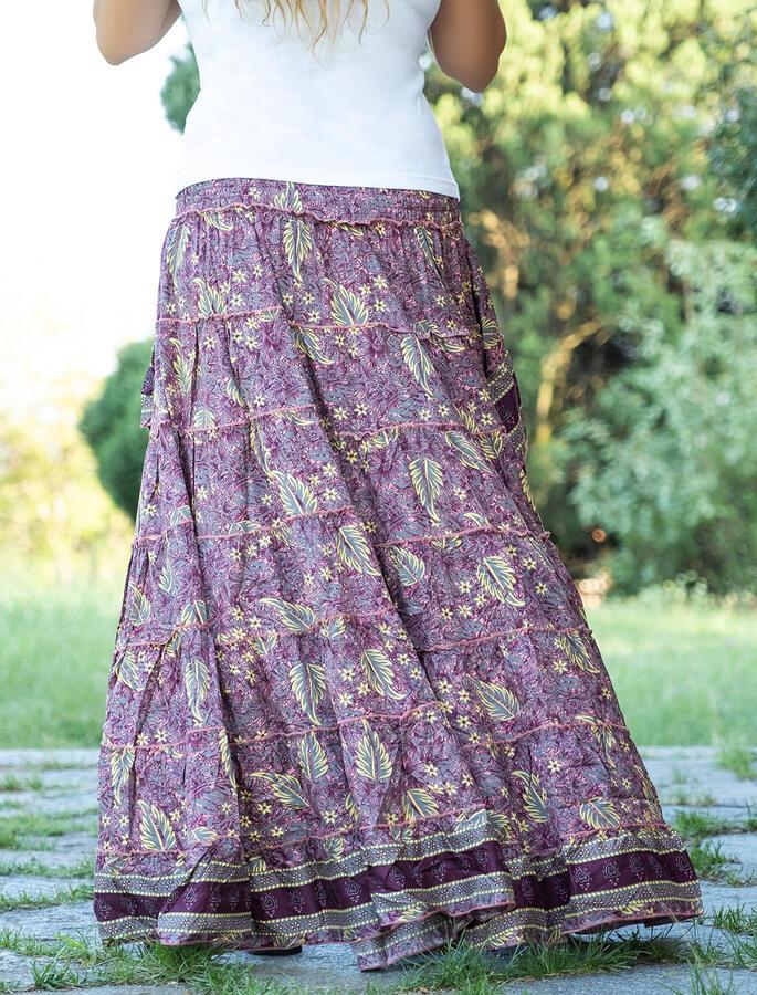 Gonna corta davanti e lunga dietro Rupali in seta - fucsia e foglie gialle