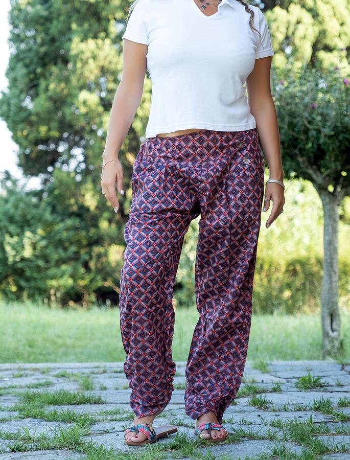 Pantalone donna Kunda a sigaretta retro elasticizzato - cerchi rosso blu