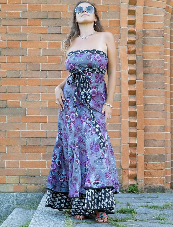 Vestito donna autoreggente Shanti - bicolor fiorato lilla / rombi grigio nero