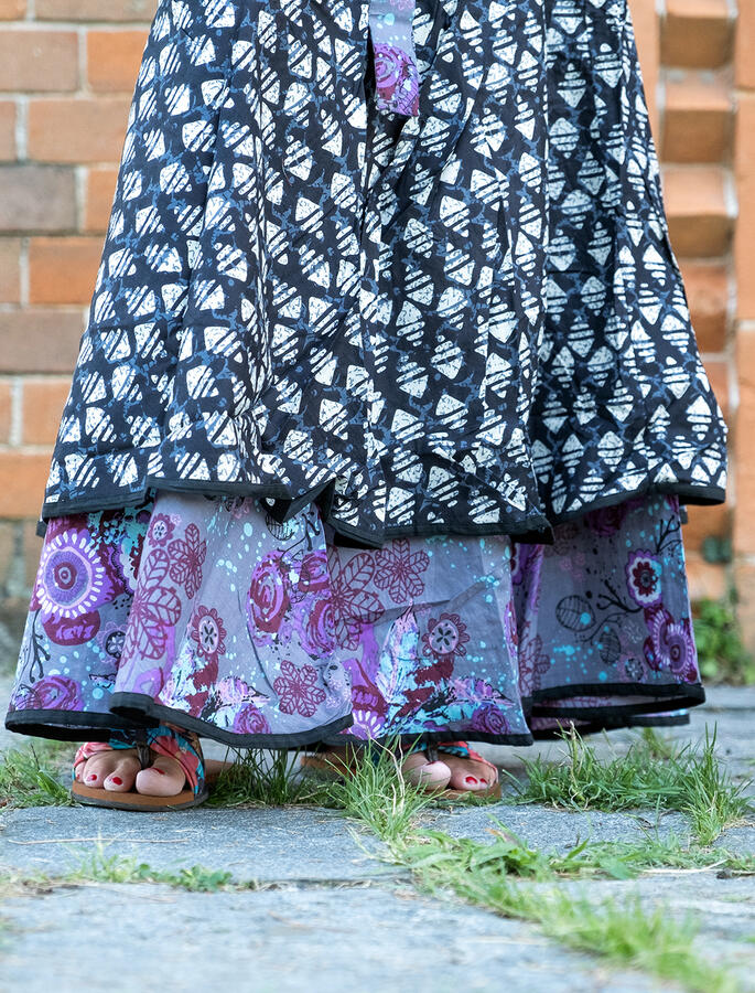 Vestito donna autoreggente Shanti - bicolor rombi grigio nero / fiorato lilla